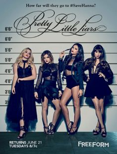 By now you'd think we'd be used to seeing the Pretty Little Liars (PLL) in a police lineup, but this time, something stands out right away. Freeform released the official poster for Season 7 which finds Aria (Lucy Hale), Alison (Sasha Pieterse), Emily (Shay Mitchell), and Spencer (Troian Bellisario)