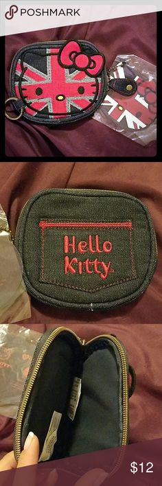 Hello Kitty denim Great Britain coin purse I bought this and never used it Hello Kitty Bags Wallets