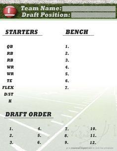 Printable Fantasy Football Draft Form Football Nfl