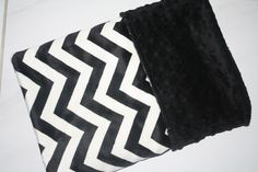 Baby Boy MINKY Cuddle Baby Blanket with Black/Ivory Chevron Print and Black Minky Backing - PERSONALIZATION Available on Etsy, $39.99