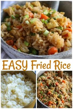 The BEST Fried Rice Recipe is easy and a great way to use up leftovers in your fridge! Add chicken, shrimp, pork, or any type of vegetable to make this easy rice recipe perfect for your family! Easy Rice Recipes, Easy Chicken Recipes, Healthy Dinner Recipes, Asian Recipes, Breakfast Recipes, Cooking Recipes, Chinese Recipes, Chinese Rice Recipe, Ethnic Recipes