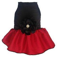 Red Taffeta Dog Dress with Rhinestone Satin Flower with Same Day Shipping | BaxterBoo