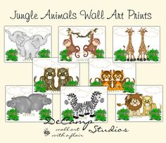 Safari Animals Wall Art Prints OR decals for baby nursery or Noah's Ark room decor. Choose between eight different animal prints OR purchase a set of four, OR purchase all eight and save. The prints are available in 3 sizes. If you are interested in canvas, please contact me #decampstudios