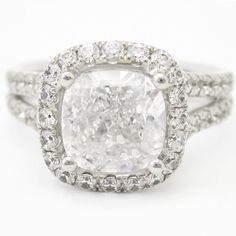 My next ring!!!    214ctw CUSHION cut antique style split shank by ninaellejewels, $9332.00