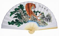 "Classic 35"" Oriental Feng Shui Wall Fan - Tiger  Price: $13.99"