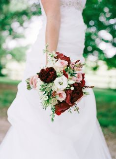 Bridal Bouquet with Burgundy Peonies, Pink Garden Roses, White Hydrangea, Lisianthus, Scabiosa, Larkspur