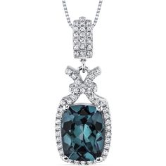 Women's Steling Silver Alexandrite Pendant Necklace with Cubic Zirconia