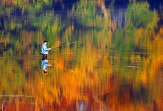 Fishing in an oil painting