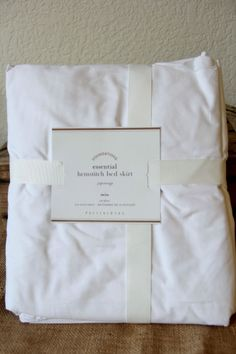 NWT Pottery Barn Foundations White Essential Hemstitch Bedskirt Twin RET $39 #potterybarn