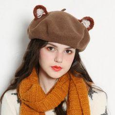 Cartoon bear beret hat with ears for girls animal winter wool hats