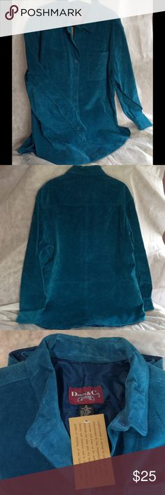 """Denim & Company suede shirt jacket Genuine suede shirt jacket. Color is really more of a true teal or Persian blue, not as bluey-blue as appears in photos. Couldn't get the camera to convey no matter the lighting. Very pretty! Sleeves measure 18"""". Chest measures inside 45"""" under arms buttoned. This runs large, as I usually am between a 6-8 and busty. Too big for me. Fully lined, re enforced button front closure. Button cuff sleeves,2 breast pockets, and side slits. Denim & Company Jackets…"""