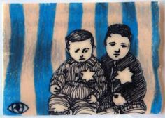Holocaust 8, 2011, by Robin Jamison Hernandez Sharpie, colored pencil, beeswax ATC created for invitational swap