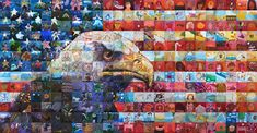 U.S.A. Freedom Flag Community Mural Mosaic - tiles painted by 325 students of different ages from South Jordan City, Utah (2009);  put together by Lewis Lavoie and his team to make the image of the eagle in front of the U.S. flag