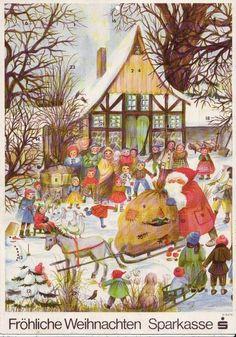 alter Adventskalender Weihnachtsmann mit Geschenkesack auf Eselsschlitten Kinder
