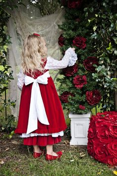 Girls+Christmas+Dress Stunning+Red+Velvet+&+Lace+Marie+Antoinette+Holiday+Dress WOW+Amazing+for+Holiday+Photos!! 2T+to+14+Years Matching+Velvet+Ruffle+Pants+Available!