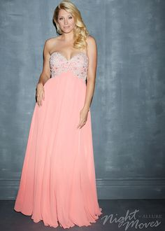 Night Moves 7120W - Coral Strapless Chiffon Plus Size Prom Dresses Online