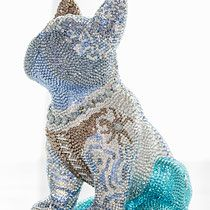 French Bruno by J. Swarovski, French Bulldog, Butterfly, Glamour, Crystals, Luxury, Blue, Art Sculptures, French Bulldog Shedding