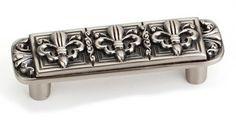 Laurey Cabinet Knobs, 3 inches Fleur de Lis Pull - Pewter