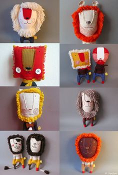 Petits lions * Jipijipi cool vintage kitsch, 70's style childrens toy plushie designs for funky lions