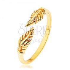 Srebrny pierścionek 925 złotego koloru, oddzielone wygrawerowane listki, lśniące ramiona