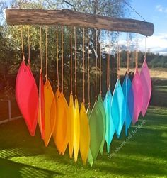 Delicious new rainbow leaf glass chimes boho hippie festival mobile yoga urban Diy Wind Chimes, Glass Wind Chimes, Stained Glass Art, Fused Glass, Jardin Decor, Sensory Garden, Hippie Festival, Garden Ornaments, Garden Crafts
