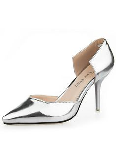 Fashion Simple Stiletto Heels High Metal Patent Leather Shallow Pointed Sandal