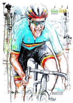 Greg Van Avermaet wins Olympic Road Race Rio 2016 by Horst Brozy Cycle Painting, Rio Olympics 2016, Bicycle Art, Cycling Art, Rio 2016, Courses, Birthday Wishes, Spin, Illustration