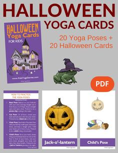 Yoga Poses : Halloween Yoga Cards for Kids: Celebrate Halloween through yoga moves for kids – pretend to be a cat, crow, and crooked tree! Yoga Moves For Kids, Kids Yoga Poses, Yoga Kids, Halloween Poems, Halloween Kids, Halloween Crafts, Gross Motor Activities, Activities For Kids, Animal Yoga