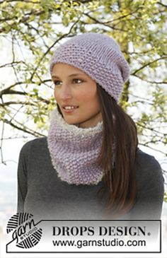 Ravelry: 141-38 - Set consists of: Knitted neck warmer in Eskimo and Puddel and hat in Eskimo pattern by DROPS design