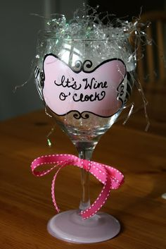DYI hand painted wine glasses. Creative, thoughtful, and inexpensive presents