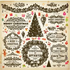 Set of vector ornamental Christmas decorative elements - Christmas trees, vector holiday frames and labels with ornaments and floral patterns, garlands and wreaths. Can be used for vintage style greeting cards, vector decorations, Xmas posters, brochures, etc. Format: EPS or…
