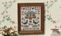 Dollhouse sampler  KIT, needlepoint embroidery, 'Peacock', for twelfth scale dollhouses -  2 x 2.3 inches, 32 count evenweave