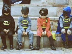Superheroes...we had a polaroid shot like this when I was little but we were in underoos :)