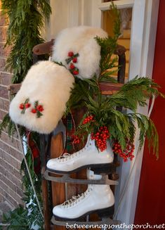 Decorating the Porch for Christmas with Garland, Sled, Ice Skates, Muff  and Snowflake Wreath 08