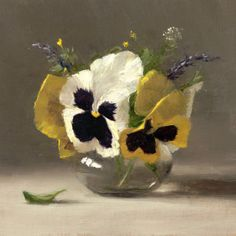 Sarah Lamb- Pansies with Lavender, Oil, 6 x 7 inches, SOLD Flower Canvas Art, Flower Art, Flower Paintings, Watercolor Sketch, Watercolor Flowers, Sarah Lamb, Still Life Flowers, Still Life Oil Painting, Still Life Art