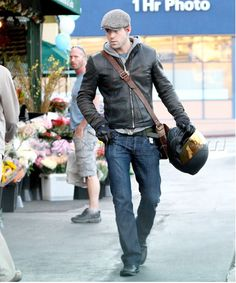 Flat cap, check. Leather jacket, check. Grey hoodie, check. Dark jeans, check. Now all I need now is a bike so I can carry a helmet