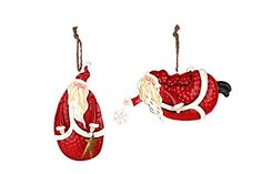 YK Decor Set of 2 Painted Tin Santa Folk Decoration Christmas Ornaments *** Find out more about the great product at the image link.