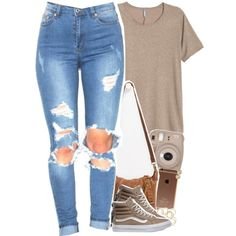 come & see me by daisym0nste on Polyvore featuring Vans, T-shirt & Jeans and Michael Kors