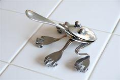 Welded Spoon and Fork Frog by WonderBadgerArtwork on Etsy, $24.00