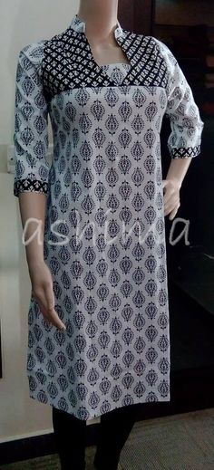 Code:1410150 Cotton Kurta Price Rs.590/- All sizes available. Free shipping to all courier destinations in India. Online payment through PayUMoney / PayPal Salwar Pattern, Kurta Patterns, Blouse Patterns, Salwar Designs, Kurta Designs Women, Neckline Designs, Dress Neck Designs, Blouse Designs, Kurta Neck Design