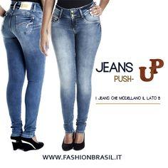 Jeans push-up marca Sawary.  Vita medio-alta, modello aderente , tessuto morbido e comodo. Chiusura anteriore con due bottoni, tasche anteriori finte.