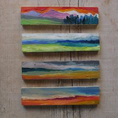 Original abstract painting panoramic by MariaMazaPaintings on Etsy Small Paintings, Colorful Paintings, Oil Paintings, Mini Canvas Art, Canvas Wall Art, Abstract Landscape, Landscape Paintings, Painting Abstract, Artist Painting