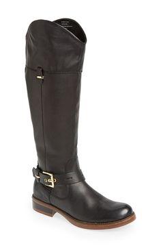 kensie 'Stefan' Leather Boot (Women) Black Size 8.5 M on Vein - getVein.com