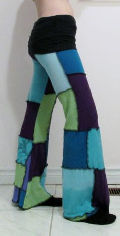 Patchwork Pants DIY Purple Green Blue Yoga Pixie Hippie Hooping Clothes Gypsy | eBay