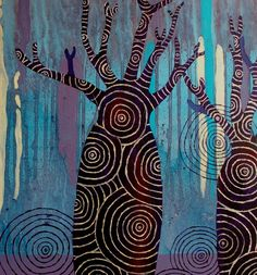 Midnight boabs by Kristi Chua Pinjes: Painting based on an experience of the boab of the north west of Western Australia Aboriginal Culture, Aboriginal Artists, Illustrations, Illustration Art, Australian Art, Indigenous Art, You Draw, Street Art, Art Lesson Plans