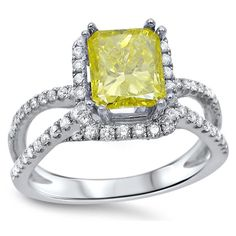 Noori 18k Gold 1 3/5ct TDW Radiant-cut Canary Yellow Diamond Engagement Ring (G-H, SI1-SI2) (Size-4.5), Women's