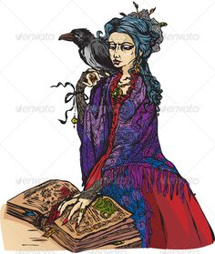 Witch with Black Raven Reading Magic Book  #GraphicRiver         Woman witch with black raven reading ancient magic book. This image is a vector illustration and can be scaled to any size without loss of resolution. All parts of the image are editable. EPS file included.     Created: 3September13 GraphicsFilesIncluded: VectorEPS Layered: Yes MinimumAdobeCSVersion: CS Tags: ancient #black #book #bookmark #cartoon #character #clothes #costume #fairytail #fall #fantasy #hair #halloween…