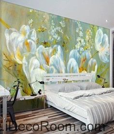 Colorful white flower illustration IDCWP-000048 Wallpaper Wall Decals Wall Art Print Mural Home Decor Gift