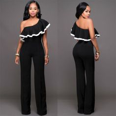 Ruffles Rompers Womens Jumpsuit One Shoulder Sexy Black Rompers Women 2017 Summer casual Long Pants One Piece Jumpsuit Black Romper, Long Romper, Ruffle Romper, Classy Outfits, Stylish Outfits, Fashion Outfits, Womens Fashion, Long Jumpsuits, Jumpsuits For Women
