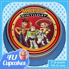 TOY STORY WOODY AND FRIENDS BIRTHDAY - 7.5 INCH ROUND EDIBLE CAKE TOPPER  CCY008
